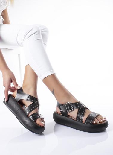 MODAGON Hakiki Deri Sandalet Terlik Siyah